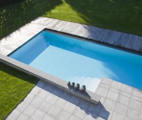 Buitenzwembad met padoek terras skimmer zwembad liner de mooiste zwembaden - Zwarte pool liner ...