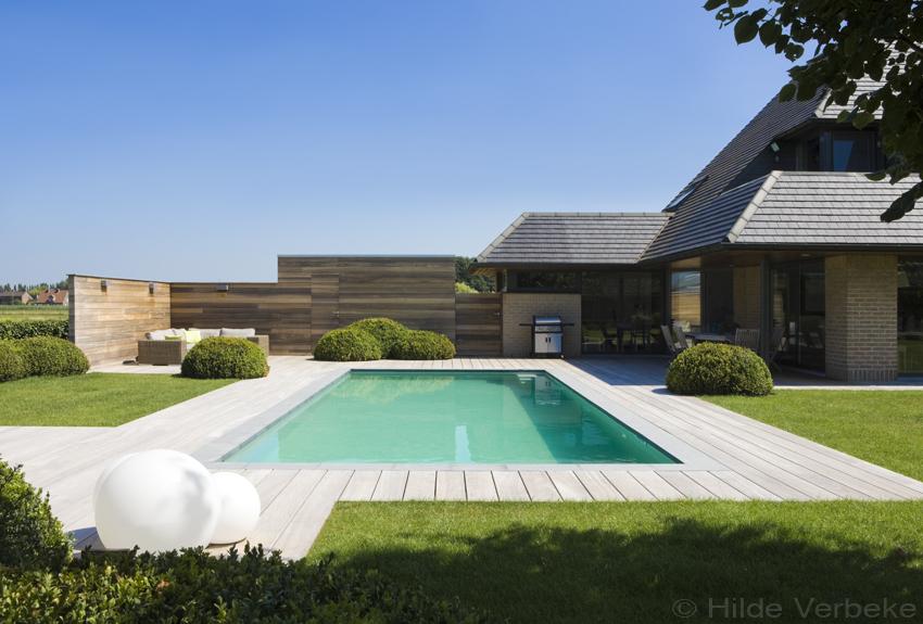 Buitenzwembad met padoek terras skimmer zwembad liner de mooiste zwembaden - Bekleed beton ...