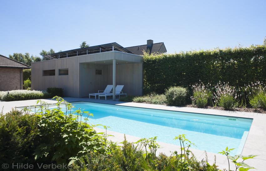 Zwembad in mooie tuin omgeven door bloemenpracht for Zwembad houtlook