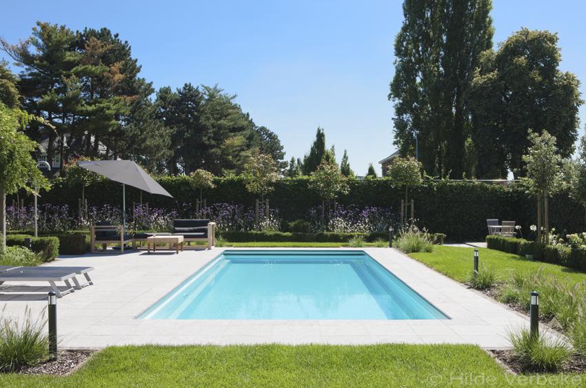 Aanleggen zwembad buitenzwembad in mooi aangelegde tuin for Tuin met zwembad