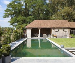 Grote zwemvijver met infini zwemvijver aanleggen met groot terras de mooiste zwembaden - Bekleed beton ...