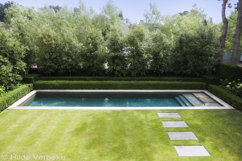 zichtbeton zwembad in kleine tuin van kustvilla