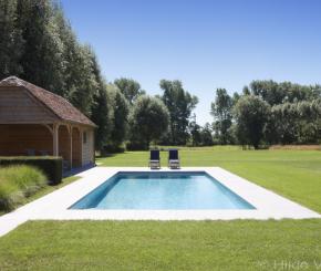 Moderne tuin stadstuin met vijverpartij vormsnoei en for Kostprijs zwembad aanleggen