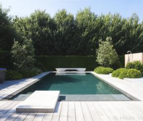 Zichtbeton zwembad in kleine tuin van kustvilla for Binnenzwembad bouwen