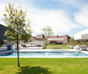 Luxe inox zwembad aanleggen, DWJ concept pools, exclusief tuinmeubilair