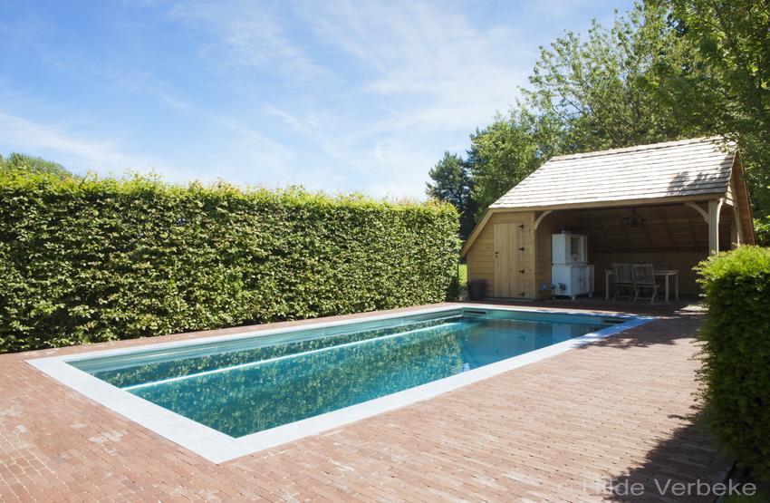 Inox zwembad in kleine stadstuin met landelijke poolhouse for Landelijke stadstuin