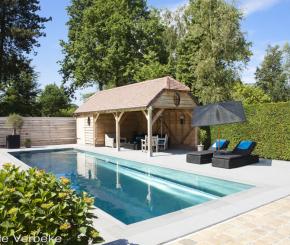 Inox buitenzwembad bouwen, skimmer zwembad met hoektrap, Nouv'eau