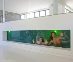 Bouwkundig binnenzwembad met onderwater window, betonnen zwembad bouwen