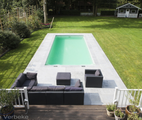 monoblok zwembad uit epoxy acrylaat, buitenzwembad aanleggen