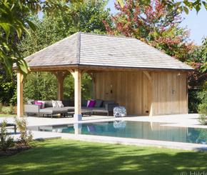 luxe eikenhouten poolhouse