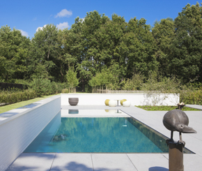 betonnen overloopzwembad in bosrijke omgeving