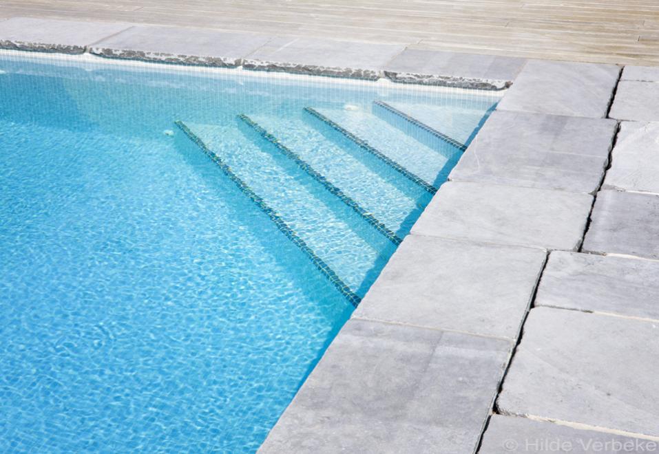 Skimmer zwembad bekleed met moza ek en terras uit ruwe blokken blauwe hardsteen de mooiste - Mozaiek blauwe bad ...