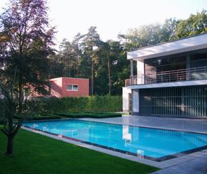 betonnen overloop zwembad bekleed met liner, vdp landscaping pools