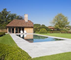 bouwkundig overloop zwembad bekleed met mozaïek, Azur zwembaden
