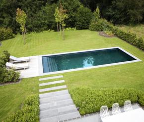 monoblock zwembad uit vinylester, becaus zwembaden