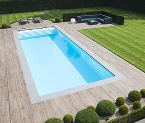 Starline zwembad met terras in keramische tegels met houtlook, Becaus zwembaden
