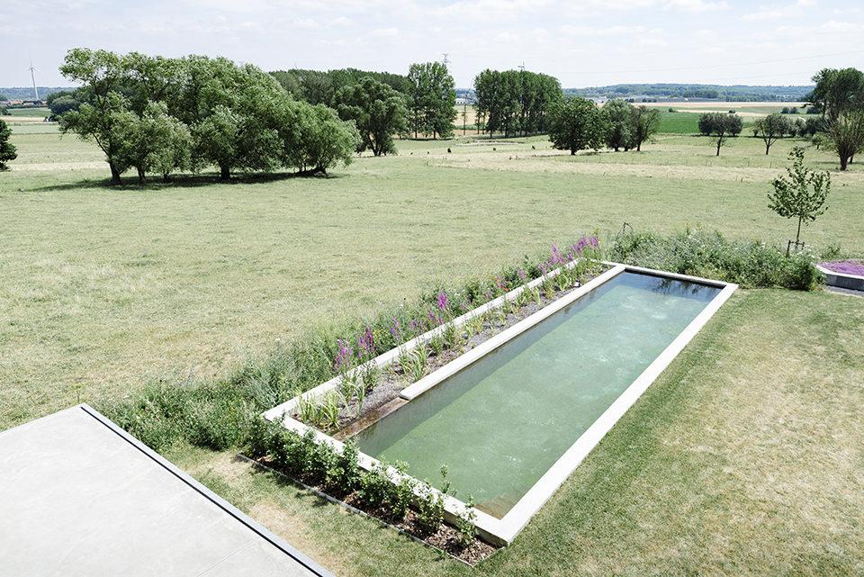 Strakke moderne zwemvijver in gietbeton u de mooiste zwembaden
