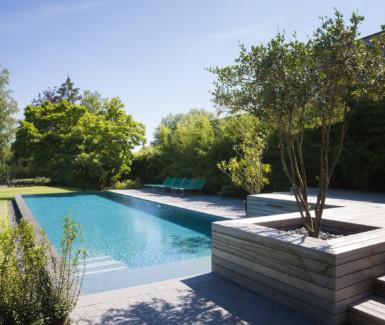 swimtec, infinity pool bekleed met liner en voorzien van fontein