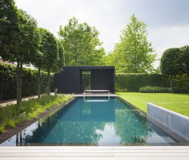 polypropyleen zwembad aangelegd door Biopool, overloop zwembad