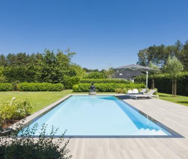 Overloopzwembad bekleed met folie aangelegd door Jeroen Godscchalk