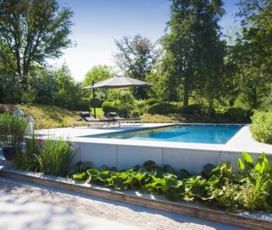 Inox buitenzwembad aangelegd door Van Eeeckhout Zwembaden in exotische tuin