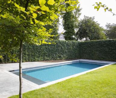 Skimmer zwembad voorzien van plage aangelegd door Total Pool Concept