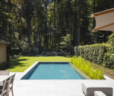biologisch zwembad met lateraal plantengedeelte zorgt voor optisch infinity effect, Aqua-Art legt biologische zwembaden aan.