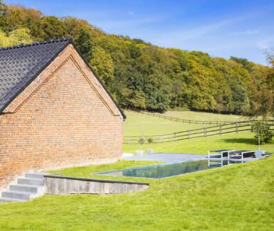 inox skimmer zwembad aangelegd in landelijke tuin door Van Eeckhoudt Zwembaden, pool with a view